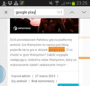 Wyszukiwanie elementy w przeglądarce Chrome